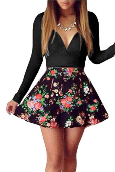 Black-Sweet-Plunging-Neck-Floral-Skater-Dress-LLC21910P-2-1
