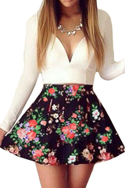 White-Sweet-Plunging-Neck-Floral-Skater-Dress-LLC21910P-1-1